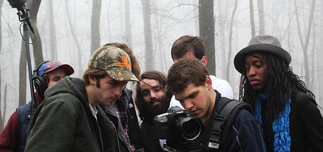 """Cast and crew of """"Current"""" surround Britt Allen"""