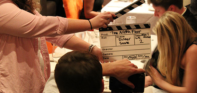"Filming the dinner scene for ""The Ninth Floor"""